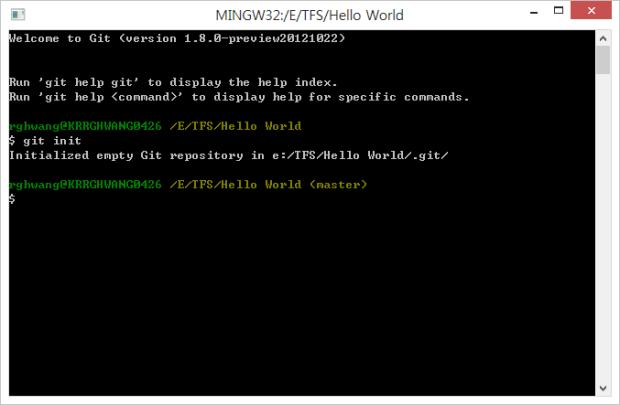 git init 실행해서 해당 폴더에 git 소스 제어 초기화
